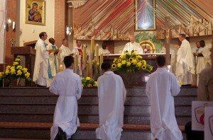 Messe du matin après la catéchèse à Bzesko